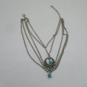 Turquoise Beaded Silver Chain Ankle Bracelet